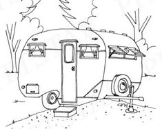 Vintage Travel Trailers Coloring Pages