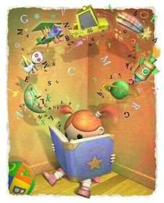 Lectura The things that leap from the pages and stimulate young minds. Reading Art, Girl Reading, I Love Reading, I Love Books, Good Books, Books To Read, My Books, Library Posters, Little Library