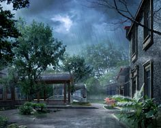 Rain Girls In China Trees Flowers House Wallpaper