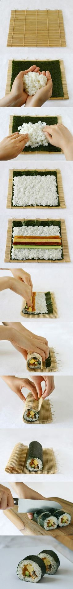 DIY - How to make sushi rolls .would probably just use cucumber though homemade sushi I Love Food, Good Food, Yummy Food, How To Make Sushi, Food To Make, Sushi Comida, Sushi Party, Sushi Sushi, Diy Sushi