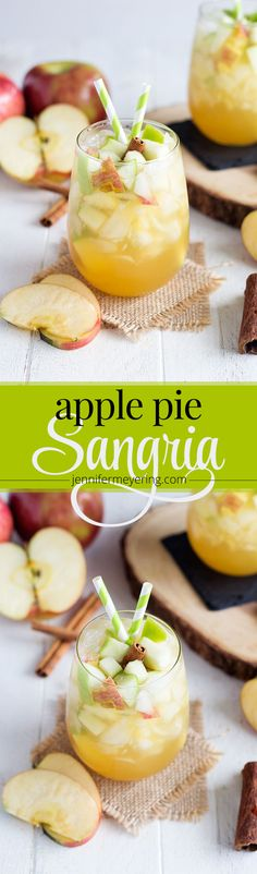 Apple Pie Sangria - A perfect fall sangria made with white wine, caramel vodka, crisp apples and fresh apple cider. Easy Drink Recipes, Best Cocktail Recipes, Sangria Recipes, Punch Recipes, Apple Recipes, Fall Recipes, Top Recipes, Party Recipes, Fruit Recipes