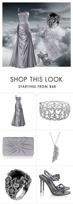 """""""Silver prom outfit"""" by frizzynorse ❤ liked on Polyvore featuring Reception, Ice, Nina, Stone Paris, First People First and René Caovilla"""