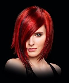 Medium Red straight coloured multi-tonal womens haircut hairstyles for women