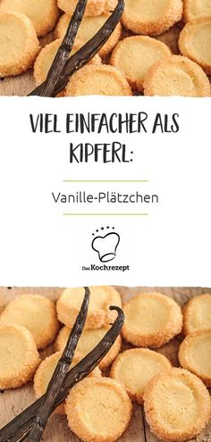 Vanilla cookies - Weihnachtsbäckerei-Favoriten,Vanille-Plätzchen These cookies not only taste delicious with vanilla, but are also made really easy! The annoying cut out of the cookies is eliminat. Vanilla Biscuits, Vanilla Cookies, Cookies Et Biscuits, Cookie Recipes, Snack Recipes, Dessert Recipes, Snacks, Food Cakes, Pumpkin Spice Cupcakes