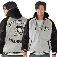 Mens Pittsburgh Penguins Ash/Black Rookie of the Year Stanley Cup Champions Commemorative Jacket