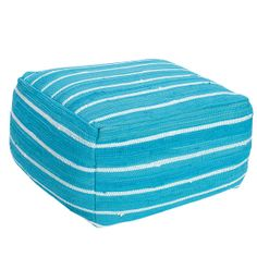 Mirage Stripe Pouf Cover - These colorful pouf covers provide a fresh update to this go-anywhere essential. Woven of cotton in fresh, two-toned stripes.