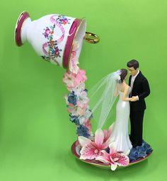 Bridal Tea Party Floating Teacup, Wedding Teacup Centerpiece, Bride and Groom Centerpiece, Bridal Shower Pink Centerpiece, Wedding Memory