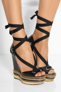 Wedge heel measures approximately 140mm/ 5.5 inches with a 40mm/ 1.5 inches platform Black leather Ties at ankle