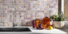 Fabric Tiles Patchwork Mosaic Effect Mosaic Tiles from Walls and Floors - Leading Tile Specialists - Over 20 Million Tiles In Stock - Sold Per SQM Patterned Kitchen Tiles, Kitchen Wall Tiles, Kitchen Yoga, 70s Kitchen, Awesome Kitchen, Kitchen Flooring, Kitchen Ideas, Cardiff, Patchwork Tiles