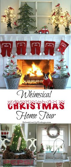 Whimsical Christmas Home Tour - tons of super fun, creative decorating and DIY ideas! Love the feather trees from HomeGoods in vintage olive buckets and the old Pepsi crate centerpiece  eclecticallyvintage.com sponsored pin