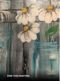 Learn to Paint Barnyard Daisies tonight at Paint Nite! Pallet Painting, Diy Painting, Painting & Drawing, Wood Pallet Art, Simple Acrylic Paintings, Wood Paintings, Beginner Painting, Painting Lessons, Learn To Paint