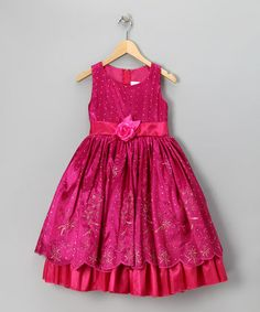 Fuchsia Princess Embroidered Dress - Toddler & Girls