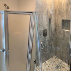 Fiberglass shower stall insert replaced with tile and frameless glass enclosure Fiberglass Shower Stalls, Residential Contractor, Next At Home, Tile, Construction, Mirror, Home Decor, Building, Mosaics