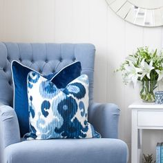 Our newest cushion to the HS Collection is the Indigo Ikat, with all shades of blues and white it works with plains as well as patterns