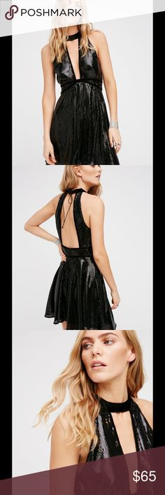 """Brand New Free People Noir Sequin Film Dress Style: 40401184 Color Code: 001  Dazzling mini dress featuring sequin accents allover. Features an elegant high velvet neckline with a sexy front cutout detail and velvet trims throughout. Femme fit-and-flare shape. Hidden back zipper closure. Lined.  100% Polyester Hand Wash Cold Import Measurements for size 6 Bust: 36"""" = 91.44 cm Waist: 25.5"""" = 64.77 cm Length: 30.5"""" = 77.47 cm Free People Dresses Mini"""
