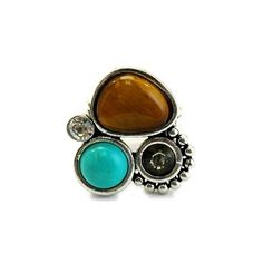 Tyana's Turquoise & Brown Genuine Stone Cluster Fashion Ring, found on polyvore.com