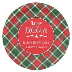 Christmas tartan name cookie exchange paper plate