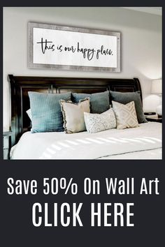 Our Happy Place, Bedroom Headboard Ideas, Wall Art, Home Decor