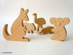 Australian animals - Kangaroo, Koala, Wombat, Emu, Platypus  - Wooden Toy Set - Set of 5