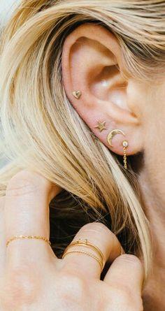 ❁ ❁ Pinterest: @maevey_wavy❁ ❁ 3 Ear Piercings, Unique Ear Piercings, Cartilage Piercing Stud, Upper Ear Piercing, Second Hole Piercing, Triple Ear Piercing, Multiple Ear Piercings, Crazy Piercings, Helix Piercing Jewelry