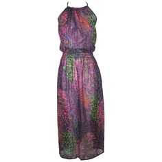 Folk Like Us Fairtrade Feather Print Maxi Dress ($46) ❤ liked on Polyvore featuring dresses, print dress, purple dresses, purple halter dress, maxi dresses and purple maxi dresses