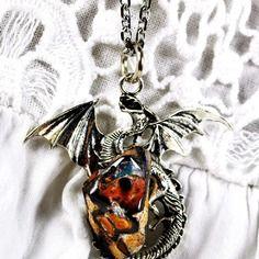 """Collier dragon et opale boulder """" dragon force """""""