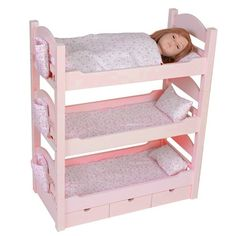 18 Inch Doll Triple Bunk Bed - Furniture Made to Fit American Girl or Other 18 Dolls $119.00 (37% OFF)