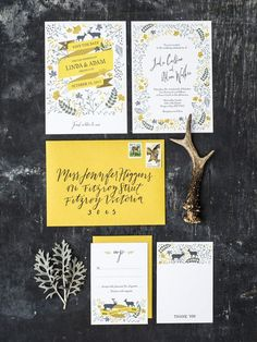 Yellow illustrated forest wedding invitations