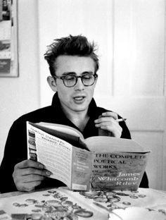 James Dean reading poetry, 1955. Photograph by  Dennis Stock.