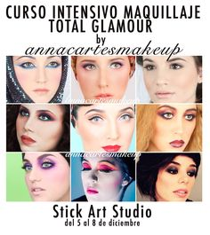 "Cartel Curso Intensivo ""Maquillaje Glamour"" - Anna Cartes   (Stick Art Studio)"