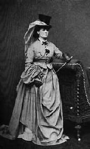 This 1860's period habit clearly shows petticoat under the habit.