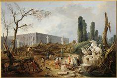Hubert Robert, View of the Bosquet des Bains d'Apollon, 1774-75