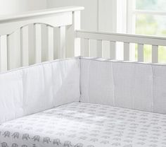 Pottery Barn Kids Embroidered Pique Nursery Crib Child Baby Bumper Chocolate