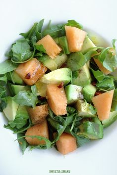 Salad with melon, avocado and hot chili