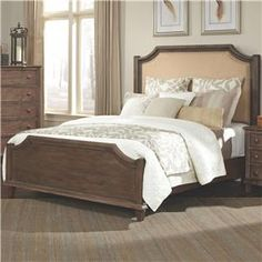 Dalgarno Queen Bed with Upholstered Headboard and Curved Details