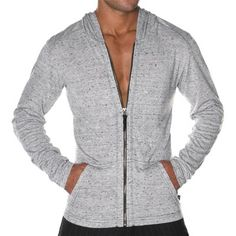Cosmopolitan Skinny Hoody by Andrew Christian in White/Heather Grey