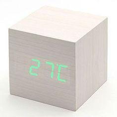 EiioX Bois Réveil Lumineux LED Bleu Horloge Digitale avec l\'heure et ...