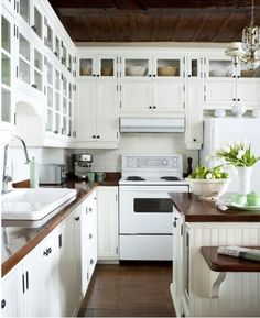White Appliances Kitchen Through Wall Exhaust Fan 44 Best Images Diner Stunning Design With Off Beadboard Cabinets Glass Front Subway Tiles Backsplash Butcher Block Countertops