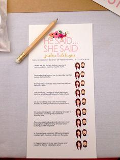 Bridal shower game. #bridalshower #game #wedding