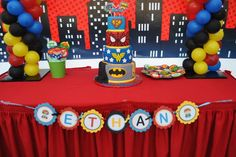 Fantastic dessert table at a superhero birthday party! See more party planning ideas at CatchMyParty.com!