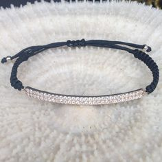 Zirconia Sterling silver 925 strip with adjustable by CharmByIA, $20.00