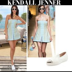 Kendall Jenner in aqua blue gold embellished mini dress with white silver cap toe flats