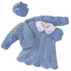 Crochet Knitting Handicraft: Dress and Bolero Bolero Pattern, Crochet Baby Dress Pattern, Knit Baby Dress, Baby Dress Patterns, Knit Crochet, Knitting For Kids, Crochet For Kids, Baby Knitting, Kids Dress Clothes