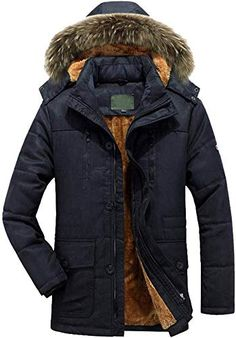 Lutratocro Men Winter Windbreaker Jacket Sherpa Lined Outwear Lapel Thick Parka Coat