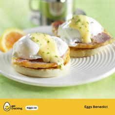 Eggs Benedict   Eggs.ca   #GetCracking #Eggs #Poached There's nothing more classic for brunch than Eggs Benedict. Perfecting this dish is all about timing. Have all ingredients close at hand and prepare the Hollandaise sauce first. Eggs can be poached on the stovetop or in the microwave, then set on English muffin halves topped with a slice of back bacon and a spoonful of creamy Hollandaise.