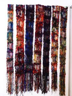 Sari Silk yarn  Drop Stitch scarf  long skinny by allthingzenergy, $20.00