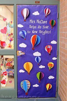 Classroom Door Decorations For February 51 Ideas - - Bildung Kindergarten Classroom Decor, Classroom Themes, Hot Air Balloon Classroom Theme, Classroom Teacher, Preschool Door Decorations, Balloon Door, All About Me Preschool, Teacher Doors, Teacher Appreciation Week