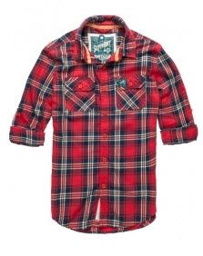 Superdry men's Lumberjack Twill #shirt in classic plaid fabric, with twin chest pockets, Superdry logo patch and button fastening.