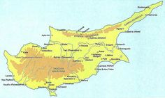 Map of important historic and prehistoric sites in Cyprus
