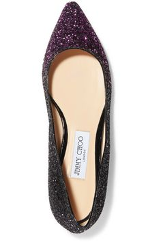 Jimmy Choo - Romy Dégradé Glittered Leather Point-toe Flats - Pink - IT